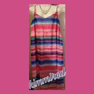Lane Bryant Pink/Blue Sleeveless Maxi Dress ~22/24
